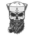 skull with beard and pipe vector image vector image
