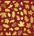 thanksgiving gold foil autumn leaf pattern tile vector image vector image