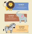 three african wild animals nursery color cards vector image vector image