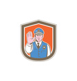 Traffic Policeman Hand Stop Sign Shield Cartoon vector image