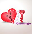 Valentine key and lock hearts vector image