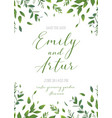 wedding floral greenery invitation card art design vector image vector image