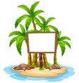 white board on island vector image vector image
