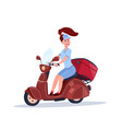 woman riding electric scooter carry luggage vector image