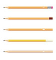 wooden sharp pencils set isolated on white vector image