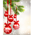 five shiny glossy red balls with bows and fir tree vector image