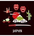 Japan travel flat concept with cultural symbols vector image