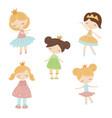 set of cartoon girls set of cartoon girls vector image