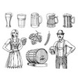 a woman and man in traditional belgian or bavarian vector image vector image