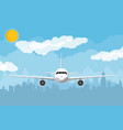 airplane and city skyline silhouette at night vector image vector image