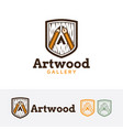 art wood logo design vector image vector image