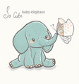 baby elephant with butterfly cute animal drawing