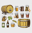 beer glass mug or bottle wooden barrels vector image vector image