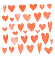 big set cute doodle red textured hearts vector image vector image