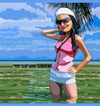 cartoon smiling woman standing in the sea vector image vector image