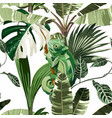 chameleon tropical palm leaves seamless pattern vector image vector image