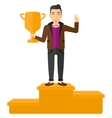 Cheerful man on pedestal vector image