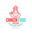 chicken food fresh meat premium quality logo vector image vector image