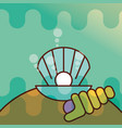clam shell sea life cartoon vector image vector image