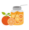 color silhouette of bottle with refreshing orange vector image