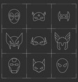 comic superhero masks set vector image vector image