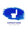 commode toilet icon - blue watercolor background vector image