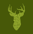deer head on white hand drawn vintage vector image vector image