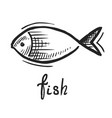 doodle fish logo hand drawn art style icon vector image