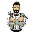 fashionable mustached and bearded barber vector image vector image
