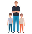 father with his children avatar character vector image vector image