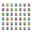 file format extensions colorful icon set vector image vector image