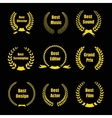 Film Awards gold award wreaths on black background vector image vector image
