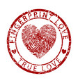 fingerprint love-true love vector image vector image