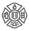 fire emblem line icon symbol and firefighter vector image vector image