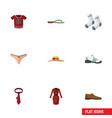 flat icon clothes set of cravat sneakers vector image vector image