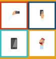 flat icon smartphone set of touchscreen telephone vector image