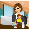 focused mother working on laptop in cafe vector image vector image