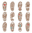 footprints icons boot shoe sole track vector image