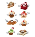 Fruity desserts cakes cupcakes and waffles vector image vector image