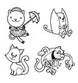 funny kitties and cats in various poses vector image vector image