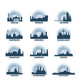 germany cities icons set skyline logo pack vector image vector image