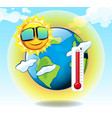 global warming with hot sun and earth vector image vector image
