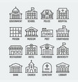 government buildings icon set in thin line style vector image