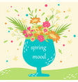 hand-drawn greeting card with flowers in a cup vector image
