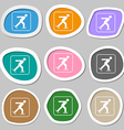 Ice skating symbols Multicolored paper stickers vector image