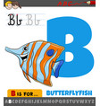 letter b from alphabet with cartoon butterflyfish vector image vector image