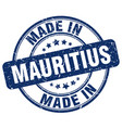 made in mauritius blue grunge round stamp vector image vector image