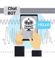 man chatting with chat bot on cell smart phone vector image vector image