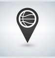 map marker with basketball symbol on a white vector image vector image