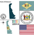 Map of Delaware with seal vector image vector image